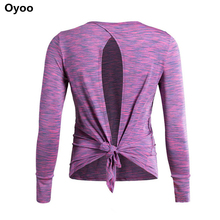 Oyoo Womens Soft Comfy Grey Long Sleeve Sports Yoga Shirts With Thumb Hole Open Back Knot Fitness Top Gym Shirt Pink jerseys