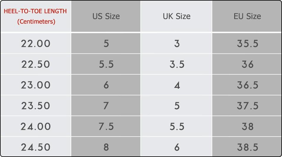 22 CM 0.5 Gap Boots Size Chart