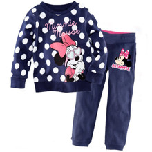Children's pajamas set Spring&autumn fashion cartoon baby girls clothing set 100% cotton girl's pyjamas Sleepwear Dot p009