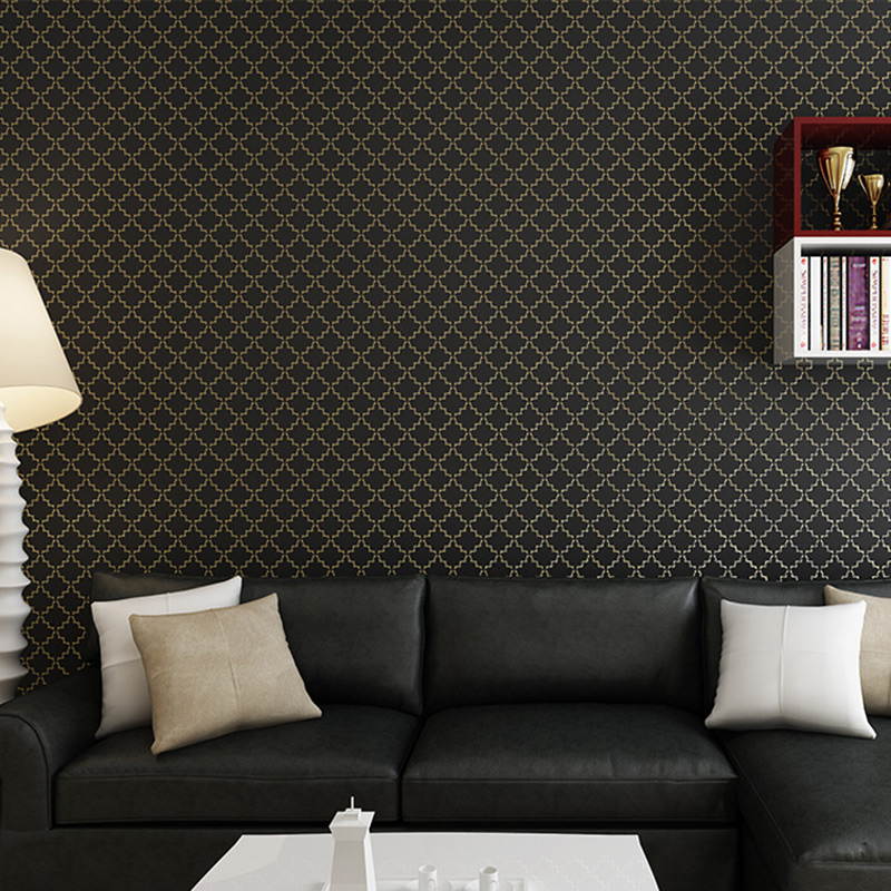 Classic Solid Color Lattice 3D Embossed Wallpaper Roll for Bedroom Living Room Modern Simple Home Decor Non-woven Wall Paper<br>