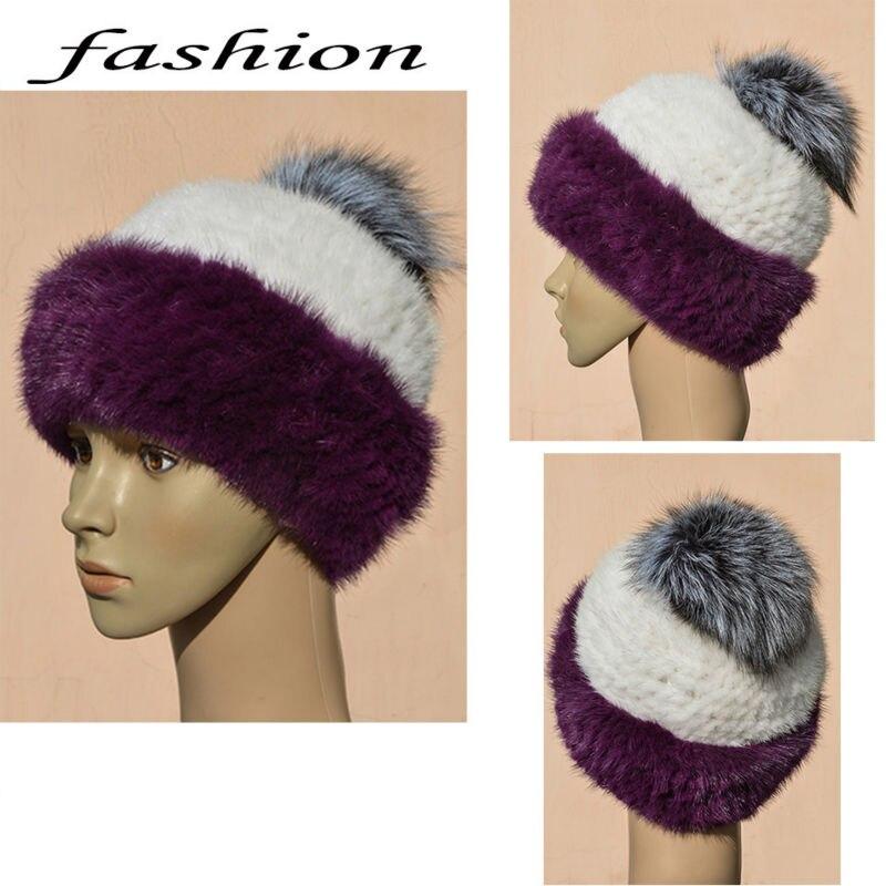Real mink knitted hat natural fur cap hat Russian winter warm fashion hat Pure natural female winter warm capÎäåæäà è àêñåññóàðû<br><br>