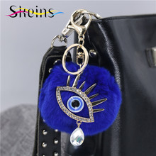 Skeins Jewlry Plush Rabbit Fur Ball Keychain Car Keychain Accessories Manufacturers Selling Fashion Crystal Tears Evil Eye(China)