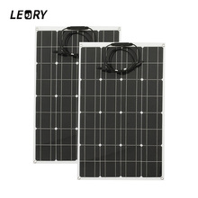 LEORY 2Pcs 12V 80W Solar Panel Monocrystalline Semi Flexible Solar Cells With 1.5m MC4 Cable(China)