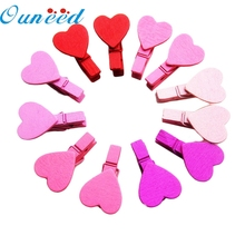 2017  Decor My House  12Pcs Mini Heart Love Wooden Clothes Photo Paper Peg Pin Clothespin Craft Clips New Hot Sell 17M20
