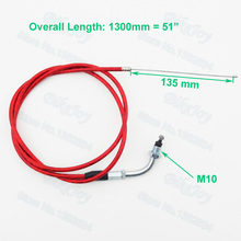 "Red 51"" 1300mm Gas Throttle Cable For 49cc 50cc 60cc 80cc Motorized Bicycle Dirt Push Bike Pit Bike Motor(China)"
