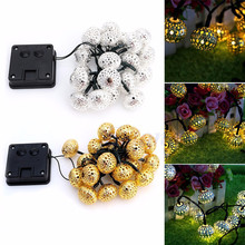 MUQGEW Solar Power 20LED Morocco Hollow String Light Outdoor Christmas Party Decor Lamp High Quality Fairy Lights Promotion(China)