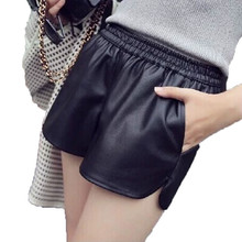 Cheap Loose High Waist Black Workout PU Leather Shorts For Women 2018 Autumn Winter New Fashion Punk Style Women's Shorts ZY208(China)