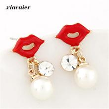 Xiacaier Simulated Pearl Beads Earrings Female Cute Red Lips Gold Color Pending Earrings Fashion Jewelry Stud Earrings For Women