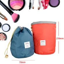 Blue/Pink Barrel Shaped Travel Nylon Cosmetic Make Up Bag High Capacity Storage(China)