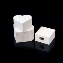 NEWEST  Heart Shape Wood Box Jewelry Box Hardware Wedding Gift Makeup Storage Bin Earrings Ring Organizer Portable Storage Boxes