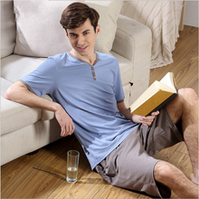 2017 Summer Brand homewear Men's Casual Pajama sets Male short sleeve V-neck Collar shirt & half pants Men Cotton sleepwear suit(China)