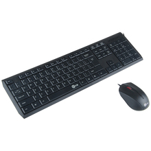 V100 Super Slim USB Wired Multimedia Keyboard Mouse Combo Set for PC Office Desktop Laptop  English Layout