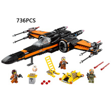 Hot STAR Space WARS The Force Awakens Poe X-wing Fighter Plane building block mini BB-8 robot figures lepine bricks 75102 toys