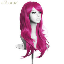SNOILITE 23 Inch Women Cosplay Wig Halloween Long Curly Synthetic Wigs Hair Rose Red(China)