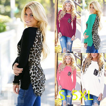 5XL 2017 Plus Size Women Clothing Autumn Winter T-shirt Casual Sexy Splice Leopard Large Big Long Sleeve Warm Tops(China)
