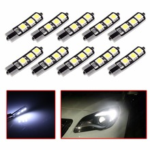 10pcs Canbus Error T10 Wedge 5-SMD 5050 Xenon Car LED Light Bulbs 192 168 194 W5W 2825 158 Cool White Side Wedge Light Bulb