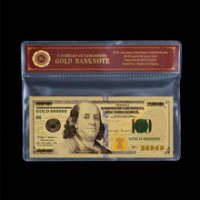 New Edition Of American 100 Dollar Bill metal Gold Foil Banknote Fake USD Currency With VOA Frame(China)