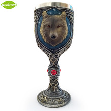 1pcs New 150ml Double Wall Resin Stainless Steel Wolf King Drinking Mug Personalized 3D Wolf Head Metal Wine Goblet Cup