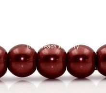 Doreen Box hot- Glass Imitation Pearl Beads Round Dark Red 4mm Dia,82cm long,5 Strands(approx 210PCs/Strand) (B22492)(China)