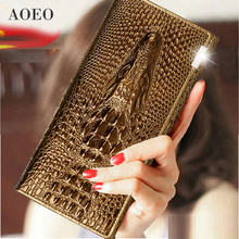 AOEO Women Lock Wallet Female Handbag Money Coin Purses Holder Genuine Leather PU 3D Alligator Crocodile Long Clutch Wallets(China)