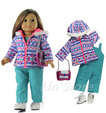"4in1 Set Doll Clothes Coat+jumpsuit+bag+one pairs shoes for 18"" American Girl Doll Casual Clothes"
