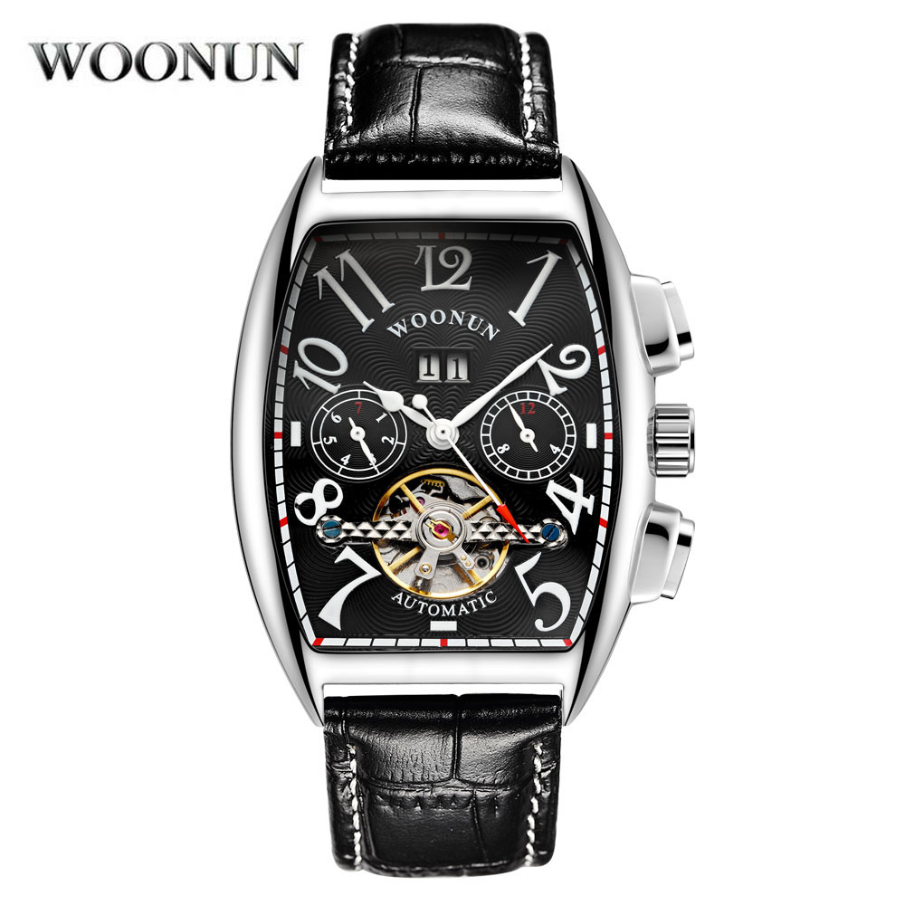 WOONUN High Quality Tourbillon Automatic Mechanical Watches Men Self Wind Business Genuine Leather Calendar Wristwatches <br>