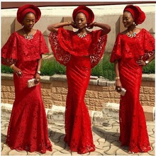 2017 Fashion Red Nigerian Lace Evening Gown Aso Ebi Formal Party Gowns Robe De Soiree