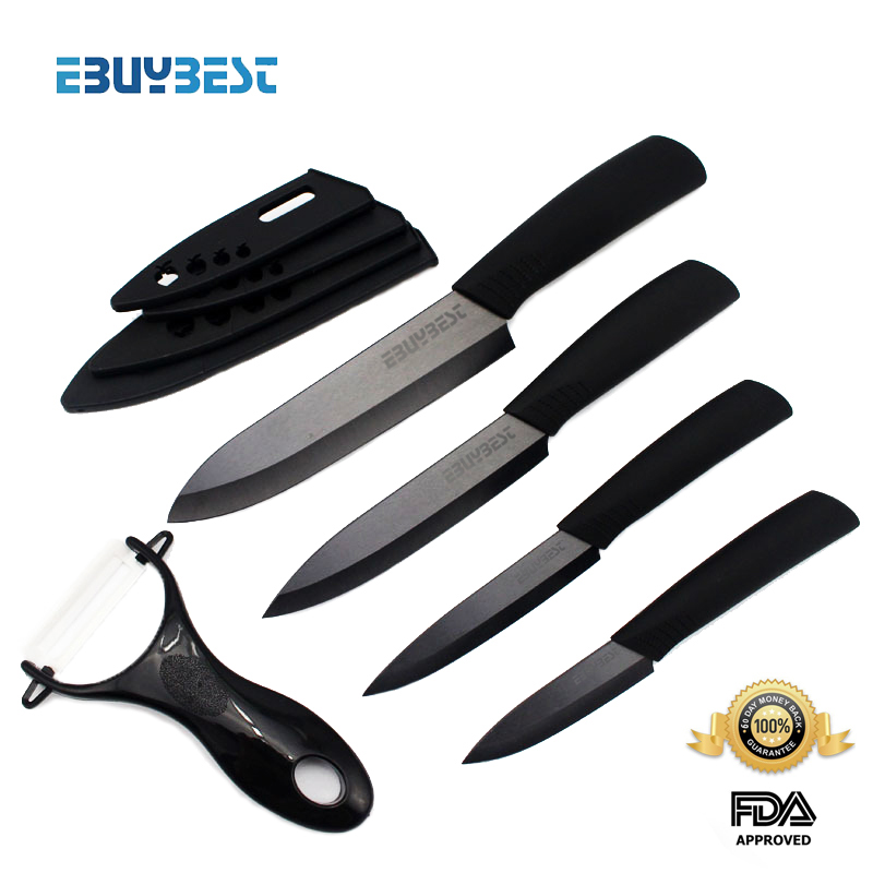 "zirconia ceramic knife set 3"" 4"" 5"" 6"" inch + Peeler + covers black blade black colors handle home kitchen knives free shipping(China (Mainland))"