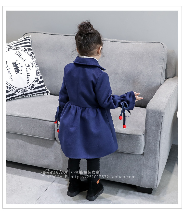 2017 winter new baby girls embroidery flower trumpet sleeves long coat fashion girl kids coats leisure jacket