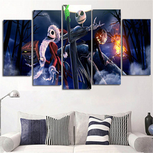 5Piece Canvas Pictures Prints Calligraphy Painting Movie Posters Nightmare Before Christmas Wall Art For Living Room Home Decor