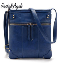 New sale bags for women vintage messenger bag double zipper PU leather handbag cross body bag casual shoulder bags bolosa