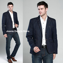 Autumn New Style Men's Slim Fitted Blue Denim Jackets , Casual Suit Collar Outerwear , Man Jean Blazer , Formal Blazers For Men