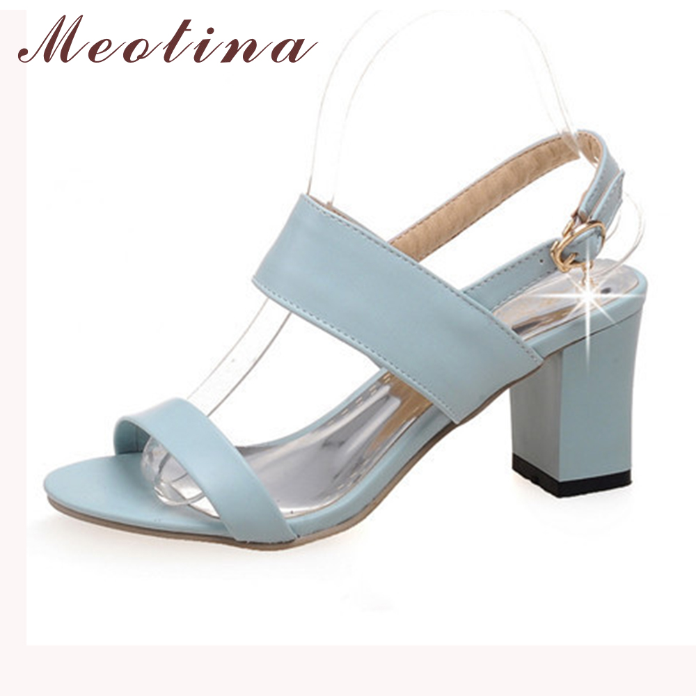 Meotina Shoes Women Sandals Summer Open Toe Ankle Strap Party Thick High Heels Sequined Black White Ladies Blue Shoes Size 43 <br><br>Aliexpress