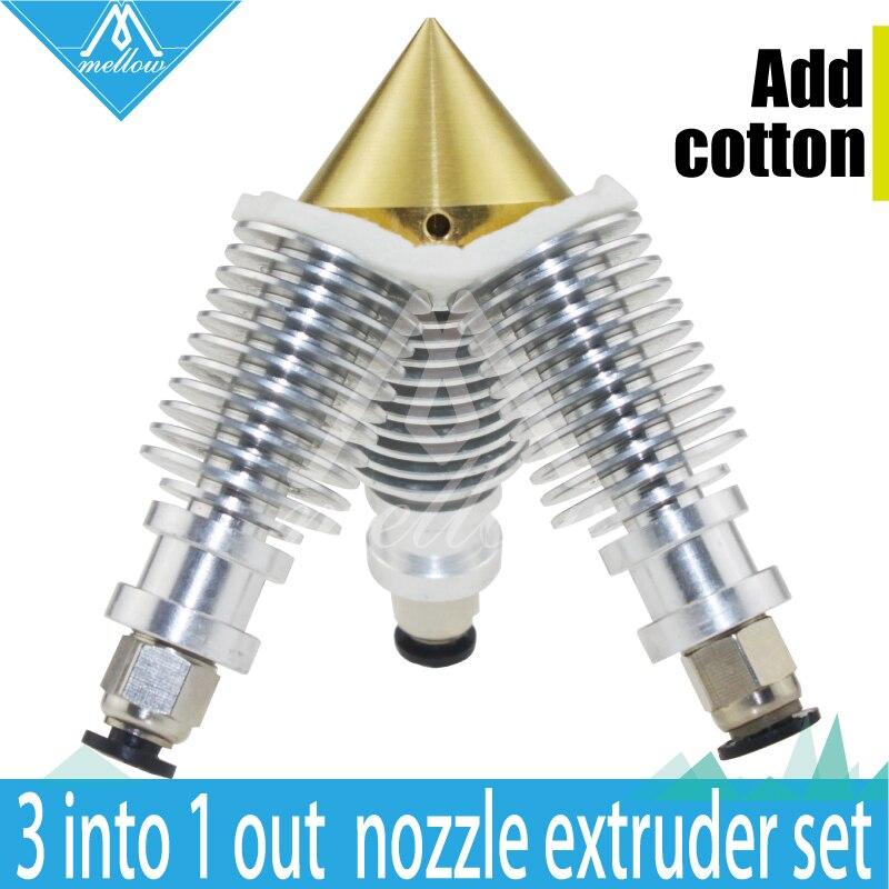 Diamond Hotend 3D printer Extruder Reprap Sharper Brass Multi Color Nozzle 3 IN 1 OUT V6 heatsink Prusa I3 kit For1.75/0.4mm<br><br>Aliexpress
