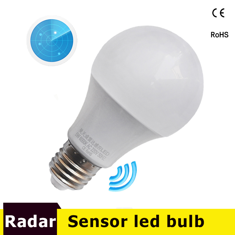 LED Radar Sensor Bulb E27 Automatic Smart Detection Led Infrared Body Lampada 9W 7W 5W 110V 220V 85-265V Motion Sensor Light