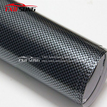 High quality Yellow  2D Carbon Fiber Vinyl Black Glossy Square 2D carbon wrapping Film Glossy carbon car sticker