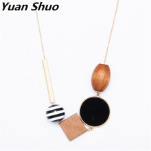 Geometric elements Wood combination pendant Long paragraph Ms. necklace sweater chain simple style ladies necklace wholesale(China)