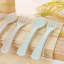 Korean green wheat portable tableware fork  two-piece suit children creative student tableware