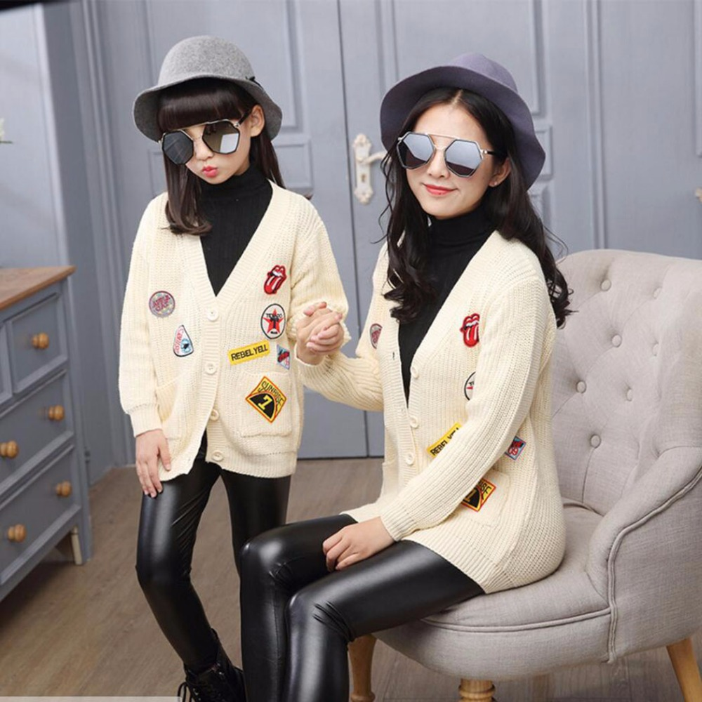 Spring&amp;Autumn Family Clothing Matching Mother And Daughter Clothes  Labeling Sweater Coat Autumn Fashion Parent-child jacket  L<br>