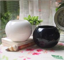 Ceramic pots small black and white 2 colors for selection mini creative small pots pots(China)
