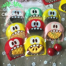 100pcs 7cm&10cm OPP Cute small Monster Sharp teeth Baking Christmas Gift Packaging Bags Wedding Cookie Candy Plastic bag B136(China)