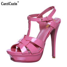 CarziCuzin woman real genuine leather brand sandals high heel platform rome shoes punk t-strap buckle footwear size 33-40 R08543