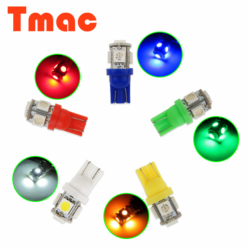 10PCS T10 5SMD DC 12V 1W 5050 192 168 194 W5W white/blue/red/green/yellow Xenon LED Light Wedge Bulb Lamp For Car styling<br><br>Aliexpress