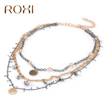 ROXI Necklaces & Pendants 2017 Long Statement Necklace Gold Metal Collares Mujer Choker Necklace(China)