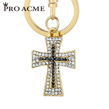 Pro Acme Small Size Christianity Cross Rhinestone Keychains for Car Purse Bag Buckle Pendant Women Keyring Men Key Chain PWK0809(China)