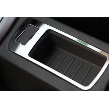 1pcs Stainless Steel Car styling AUX USB Interface Adapter Storage Box Cover Bezel Trim For 2009-2015 Ford Focus automobiles(China)