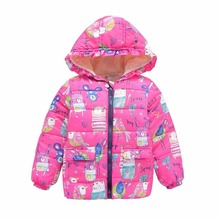 Baby Long Sleeve Cartoon Jacket Boys Girls Winter Warm Hooded Coat 2-7Y Outerwear