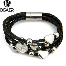 Alibaba Express Fashion Leather Wrap Woven Heart Crystal Bracelet Black for Men Handmade Stainless Steel Man Jewelry GP0694(China)