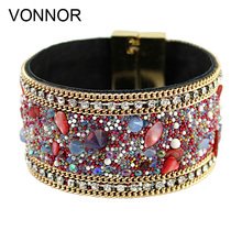 Women Fashion Leather Bracelet Claw Chain Studded Crystal Gift for Girlfriend Bracelets Bangles(China)