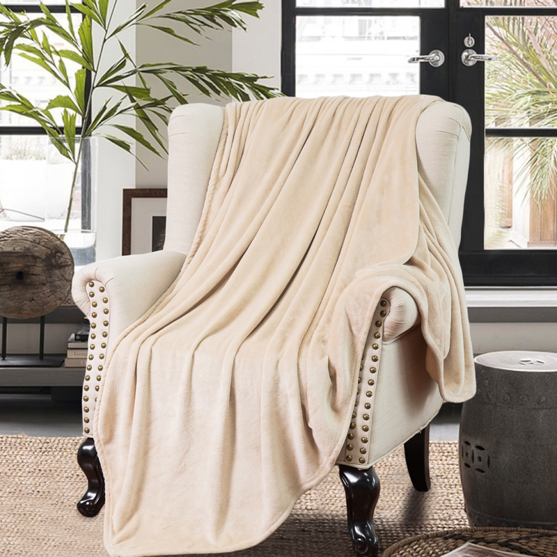 Bedsure best quality plain camel color winter warm flannel china blanket/throw on the bed/sofa/plane for home and travel<br><br>Aliexpress